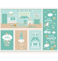 Baby boy nursery and playroom interior vector
