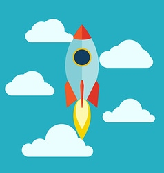 Starup rocket with fire flat design vector