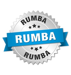 Rumba 3d silver badge with blue ribbon vector