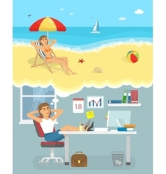 Dreaming about holiday poster vector