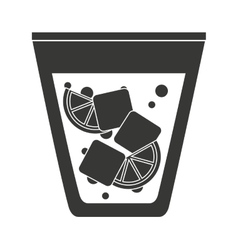 Cocktail with ice cubes and lemon isolated icon vector