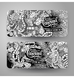 Cartoon doodles cinema banners vector
