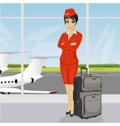 Asian air hostess posing with luggage vector