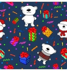 bears Christmas seamless pattern vector image