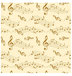 beige seamless pattern with wavy music notes vector image vector image