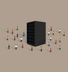 Big data server web hosting people crowd shared vector