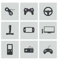 Black video game icons set vector
