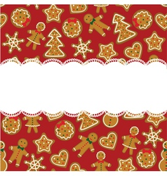 Christmas card with cookies vector image