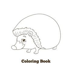 Coloring book forest animal hedgehog cartoon vector