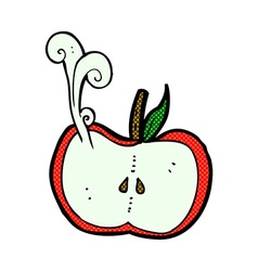 Comic cartoon juicy apple half vector