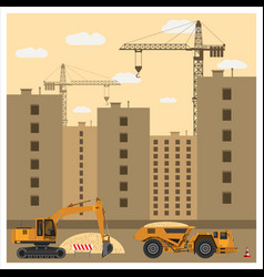 construction site with equipment vector image