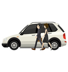 Couple and car vector