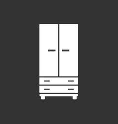 Cupboard icon on black background modern flat vector