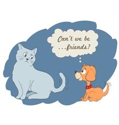 Cute cartoon dog and cat vector