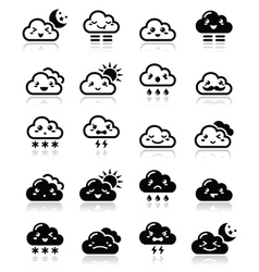 Cute cloud - kawaii manga black icons with differ vector