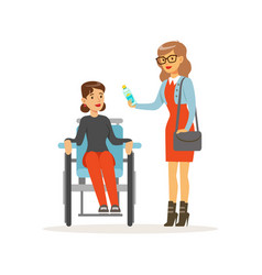 Disabled young woman in wheelchair smiling female vector