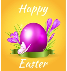Easter card with egg and violet crocuses vector image vector image