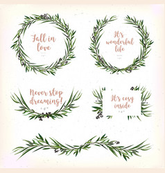 Eucalyptus leaves circle round green leaf wreath vector