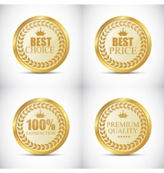 Gold Quality Label Set vector image
