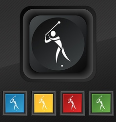 Golf icon symbol set of five colorful stylish vector