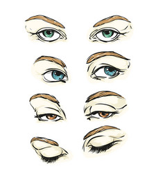 hand drawn womens eyes vintage vector image vector image