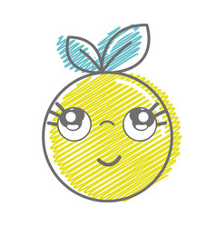 Kawaii nice thinking orange fruit vector