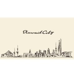 Kuwait skyline vintage drawn vector