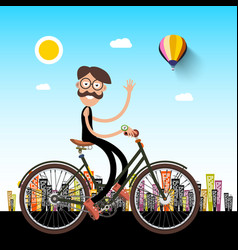 Man on bicycle with city on background vector