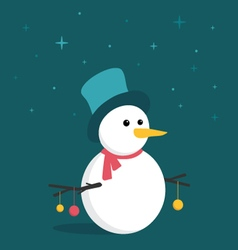 Merry little snowman in the starry night vector