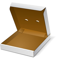 Open white blank carton pizza box on white vector