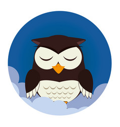 Owl sleep character icon vector