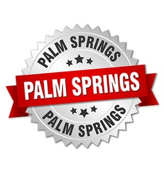Palm springs round silver badge with red ribbon vector