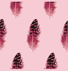 Pink feather seamless pattern vector