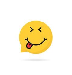 Satisfied emoji speech bubble logo vector