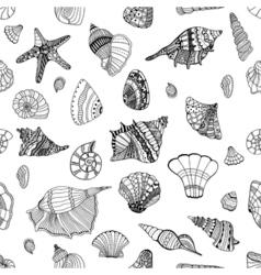 seashell seamless pattern vector image vector image