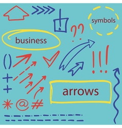 Set of hand drawn isolated arrows vector