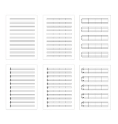Set of six types music note staves a4 sheets vector image