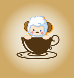 Sheep logo coffee vector