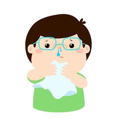 sick boy runny nose vector image vector image
