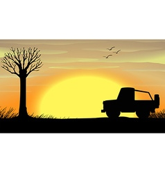 Silhouette sunset scene with a truck vector