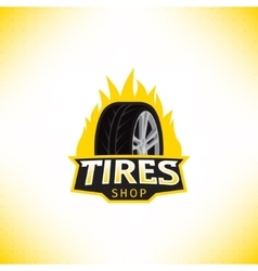 template of tires shop logo vector image