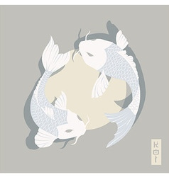 Two carp koi fish swimming around sun traditional vector