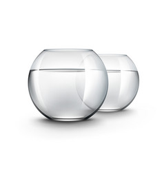 Two glass fishbowls aquariums with water vector