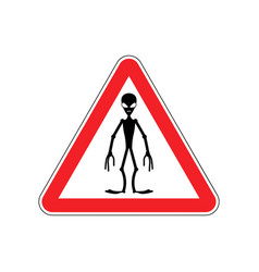 ufo warning sign red alien hazard attention vector image