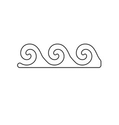 Water wave black color path icon vector
