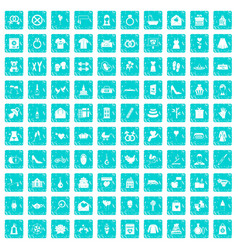 100 woman happy icons set grunge blue vector