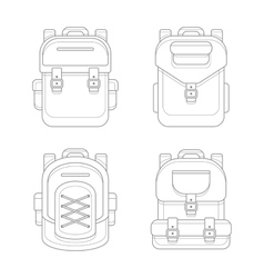 Fashionable urban backpack bags line art style vector