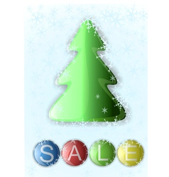 Glass christmas tree and a button labeled sale vector