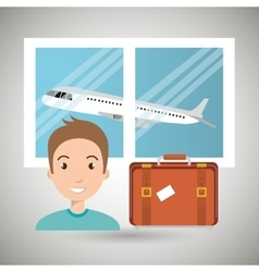 Man suitcase airplane window vector