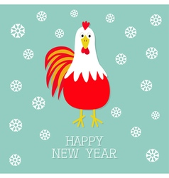 Red rooster cock bird snow flake 2017 happy new vector
